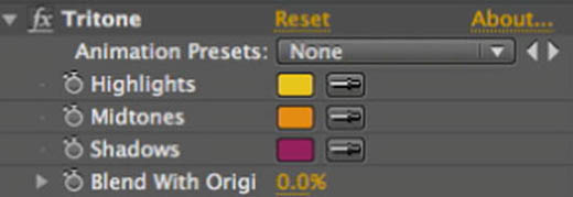 After Effects tritone settings