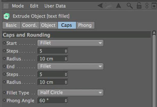 Cinema 4D Text Fillet Settings
