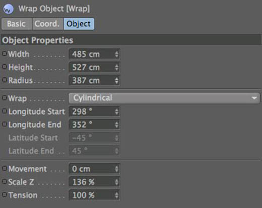 Cinema 4D Wrap settings