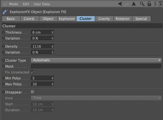 Cinema 4D Explosion FX settings