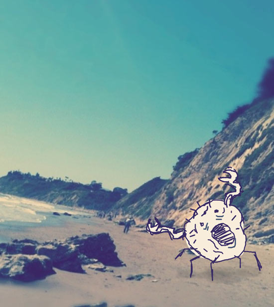 crab monster doodle beach california