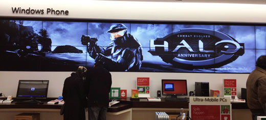 Microsoft Store Halo video wall