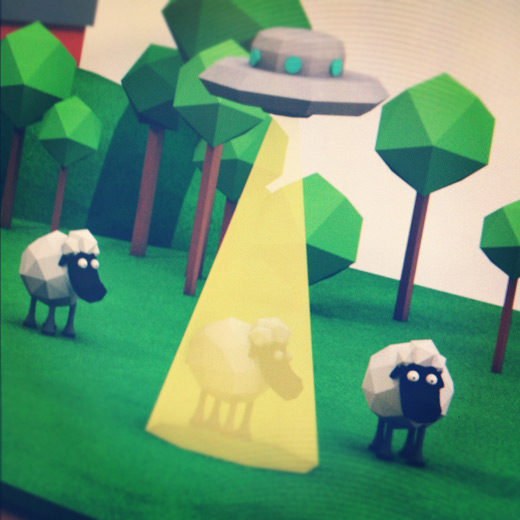 Low Poly Sheep UFO Cinema 4D